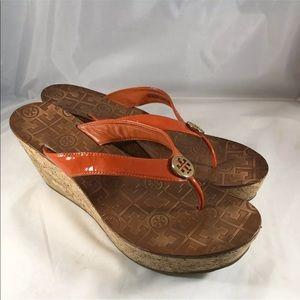 Tory Burch Thora Cork Wedge Orange Sandals Sz 10 M